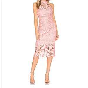Bardot Isa Lace Midi Dress Vintage Rose-10/12